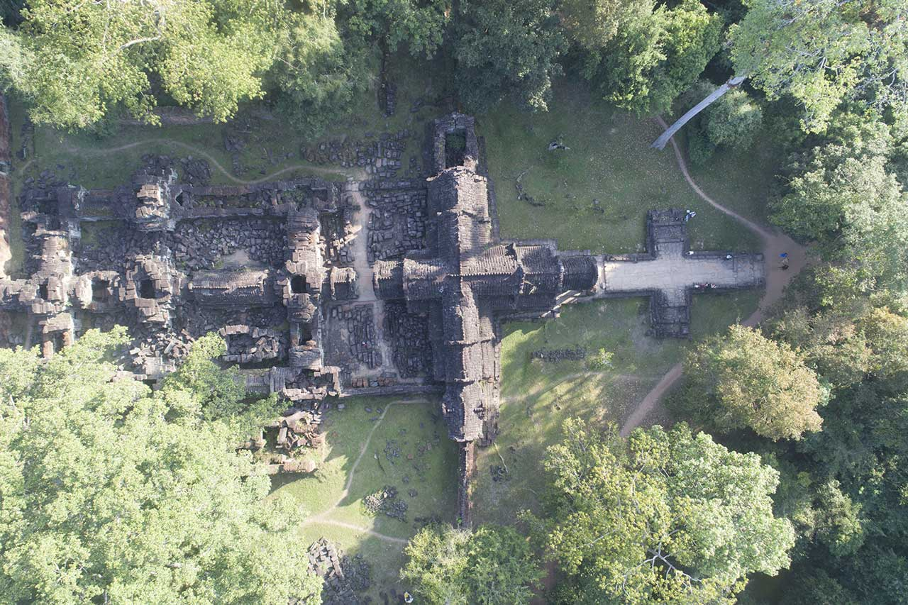 Un temple pris en photo lors du scan par drone d'Angkor, au Cambodge.