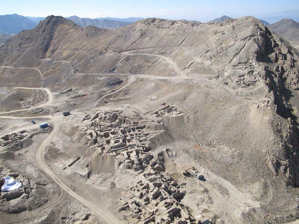 Vue aérienne de Mes Aynak, en Afghanistan.